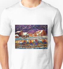 LATE NIGHT POND HOCKEY GAME BEAUTIFUL PAINTINGS OF CANADIAN WINTER SCENES BY CANADIAN ARTIST CAROLE SPANDAU T-Shirt