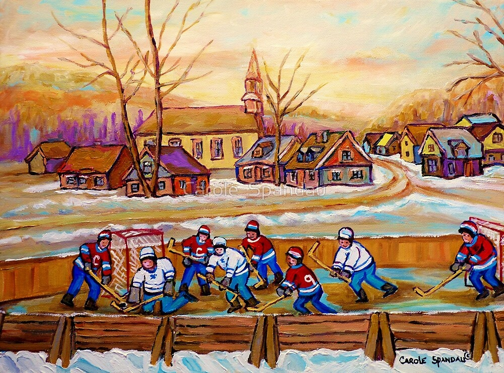 Hockey game in the village canadian winter scene painting for Patinoire exterieur