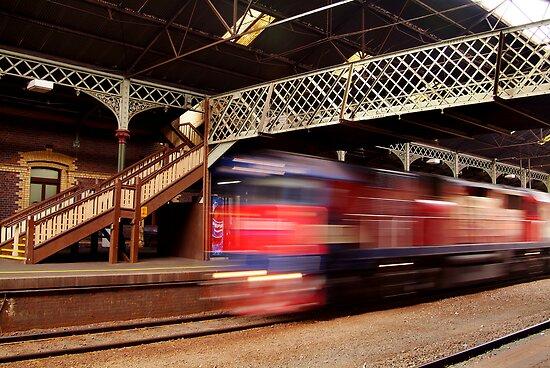 Red Train,Geelong Railway Station by Joe Mortelliti