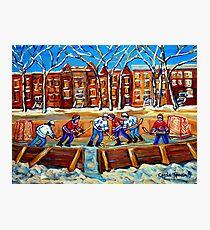CANADIAN ART URBAN LANDSCAPE PAINTING HOCKEY WINTER SCENE BY CANADIAN ARTIST CAROLE SPANDAU Photographic Print