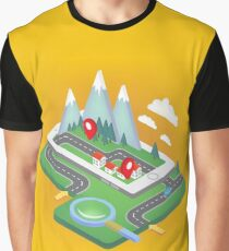Mobile Navigation Isometric Concept with Smart Phone Graphic T-Shirt