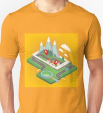 Mobile Navigation Isometric Concept with Smart Phone Unisex T-Shirt