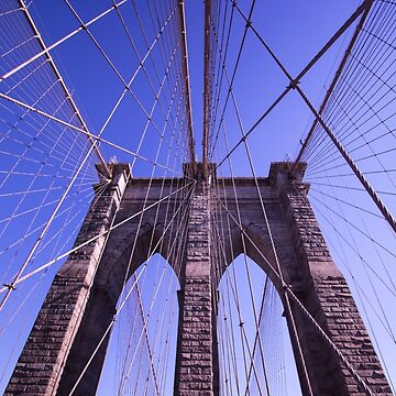 Brooklyn bridge 2 - travel, city, architecture, new york, construction, metropolitan, downtown, blue by JuliaRokicka