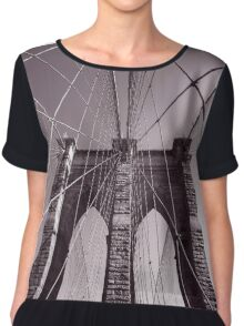 Brooklyn bridge - travel, city, architecture, new york, construction, metropolitan, downtown, pink Chiffon Top