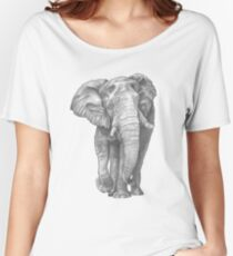 Elephant Drawing in Graphite Women's Relaxed Fit T-Shirt
