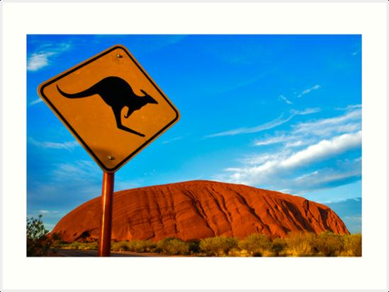 Uluru and a Kangaroo by ozczecho