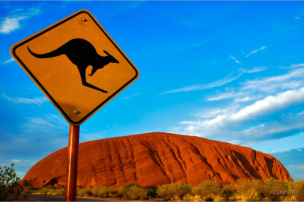 Quot Uluru And A Kangaroo Quot By Ozczecho Redbubble