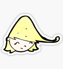 cartoon happy blond girl's face Sticker