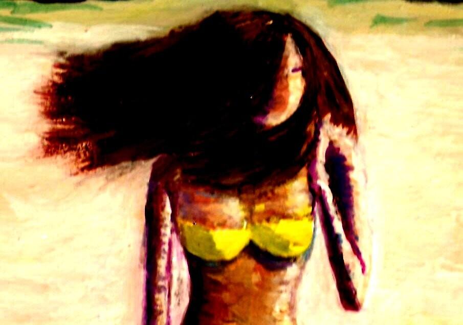 Windswept Beach Girl by RobMehigan