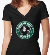 Duncan Hills Coffee (Toki) Women's Fitted V-Neck T-Shirt