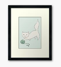 Cat with Yarn Framed Print