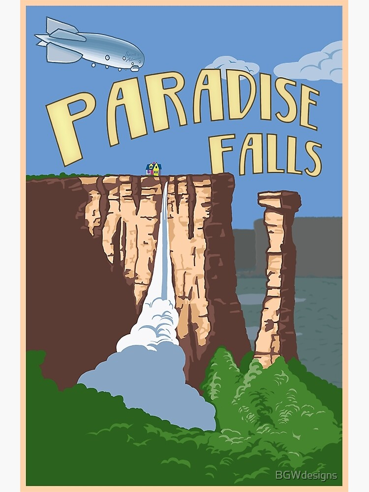 Paradise Falls Travel Poster by BGWdesigns
