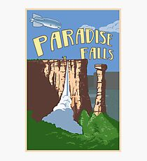 Paradise Falls Travel Poster Photographic Print