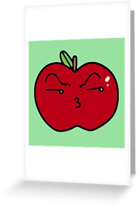 Pouty kiss face apple greeting cards by saradaboru redbubble pouty kiss face apple by saradaboru m4hsunfo