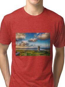 Doolin Castle Sunset Landscape County Clare Ireland Tri-blend T-Shirt
