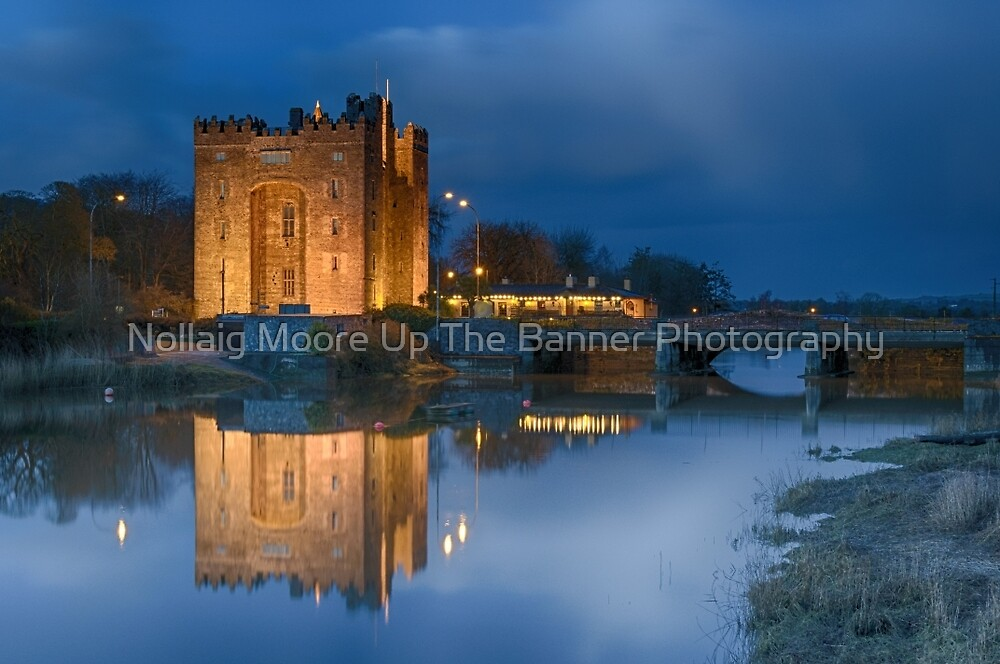 bunratty castle durty nellys nellies at night water reflection county clare ireland by Noel Moore Up The Banner Photography