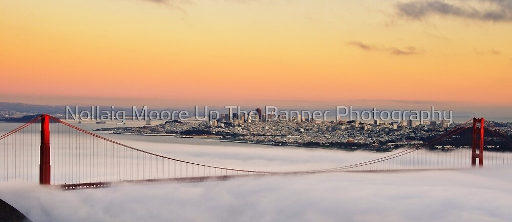 san francisco sunset golden gate bridge skyline cityscape by Noel Moore Up The Banner Photography
