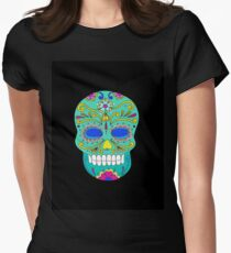Sugar skull mexican folk art Womens Fitted T-Shirt