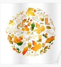 Watercolor set of autumn elements Poster