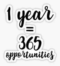 1 year, 365 opportunities Sticker