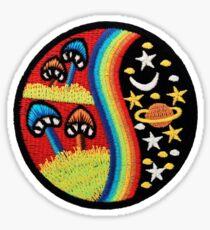 Mushroom rainbow space patch Sticker