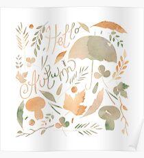 Set of watercolor autumn elements Poster