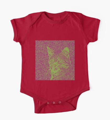 Portrait of cat, ninja Cat Sensei. 8-bit. Kids Clothes