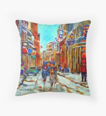 CANADIAN ARTIST PAINTS CANADIAN WINTER CITY SCENE OLD MONTREAL BY CAROLE SPANDAU Throw Pillow