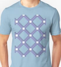 Purple Pixel life, gray, steel color bricks pattern Unisex T-Shirt