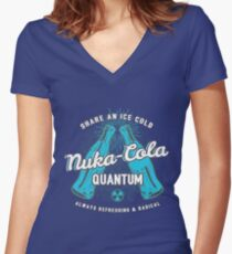 Fallout nuka cola quantum logo, Women's Fitted V-Neck T-Shirt