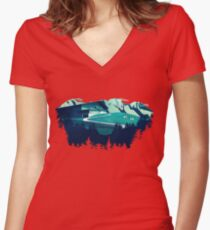 Alpine Hut Women's Fitted V-Neck T-Shirt