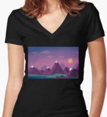 Minimalist Landscape Women's Fitted V-Neck T-Shirt