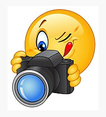 Cute and funny emoji photographer  Photographic Print