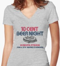 10 Cent Beer Night Women's Fitted V-Neck T-Shirt