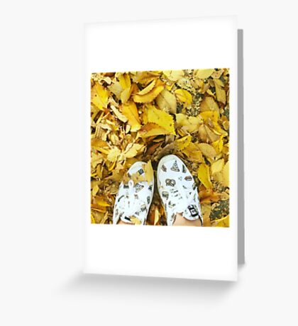 Yellow leaves, white shoes Greeting Card