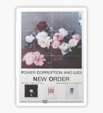 Power, Corruption & Lies vintage style whitewashed poster Sticker