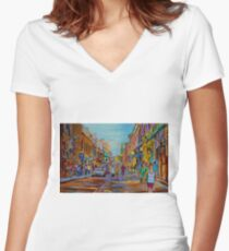 PAINTINGS OF THE OLD CITY OF MONTREAL CANADIAN URBAN SCENES BY CANADIAN ARTIST CAROLE SPANDAU Women's Fitted V-Neck T-Shirt