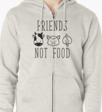 Sudadera con capucha y cremallera Amigos no comida