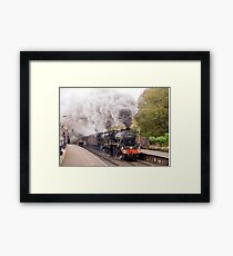 "Double headed Stanier ""Black Five"" locomotives thunder through Hindley station. Framed Print"