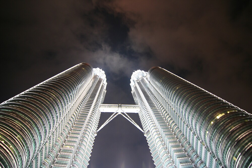 Looking up the Twin Towers by redaw11