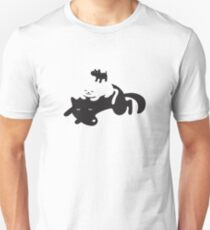 Puppy on a Cat on a Dog Unisex T-Shirt