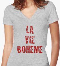 La Vie Boheme - Rent - Red Typography design Women's Fitted V-Neck T-Shirt