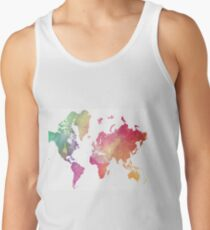 World Map with Watercolor Wash Tank Top