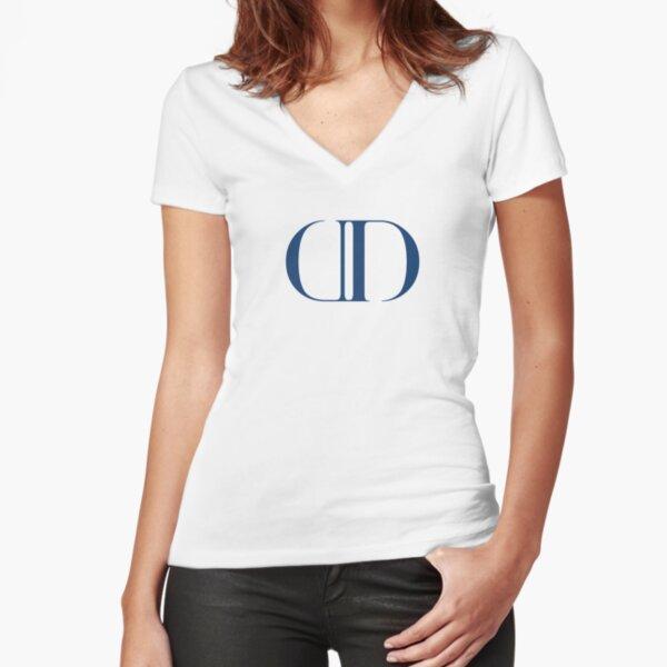 "Demure Duchess ""DD"" Logo Collection - Dark Blue Fitted V-Neck T-Shirt"