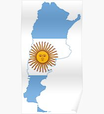 Flag map of the argentina Poster