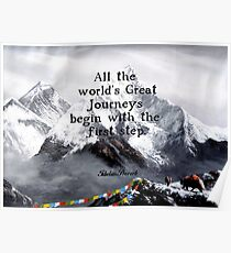 All the world's Great Journeys Motivational Tibetan Proverb With Panoramic View Of Everest Mountain Painting Poster