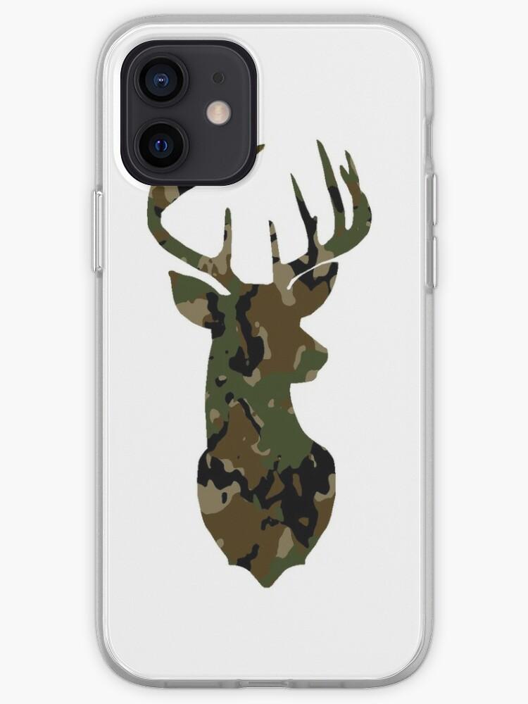 Cerf, tête de cerf, silhouette de cerf, camouflage, camouflage, chasseur | Coque iPhone