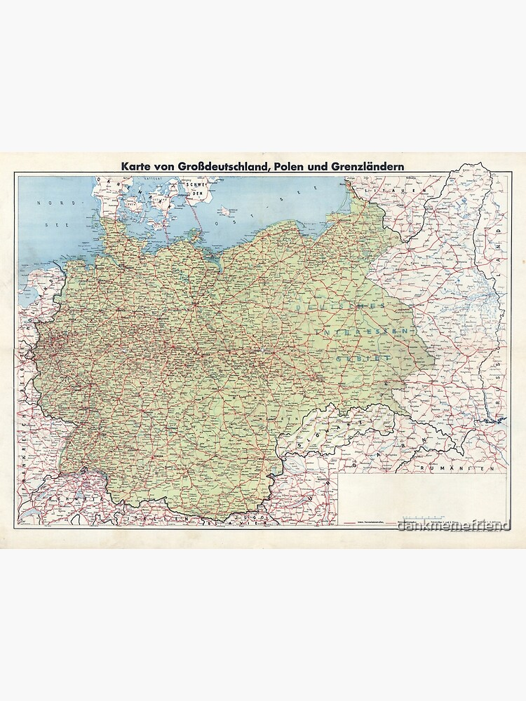 Map Of Germany To Print.Map Of Greater Germany Metal Print
