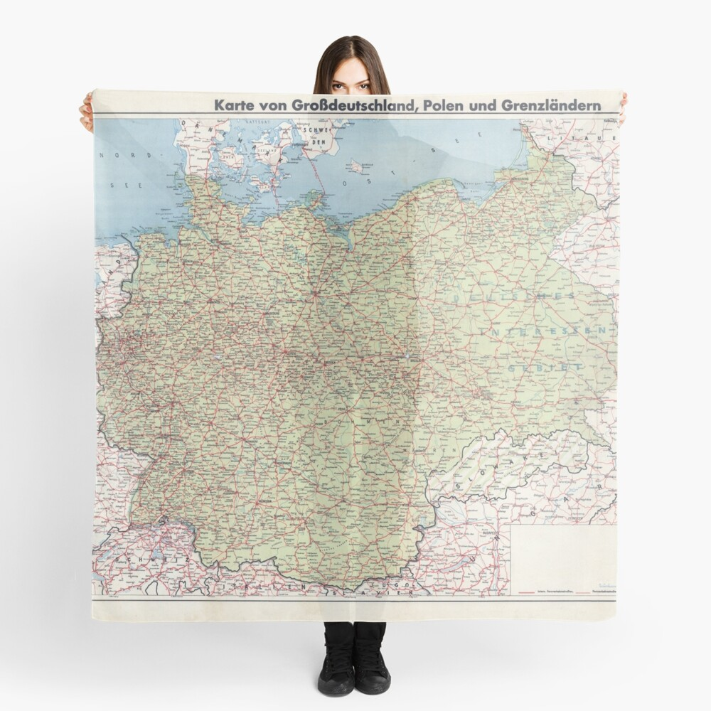 Map Of Greater Germany Scarf By Dankmemefriend Redbubble