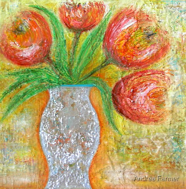 Tulips in a Vase by Andrea Farmer